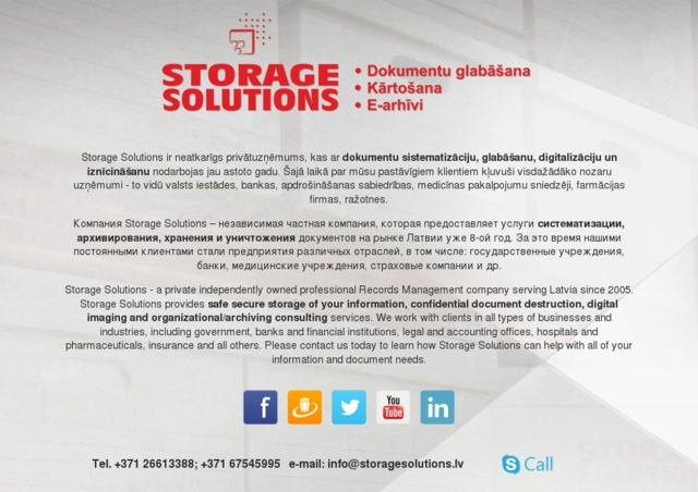Storage Solutions, SIA